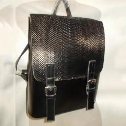 Кожаный рюкзак с клапаном (черный)