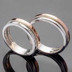 Парные свадебные кольца из серебра