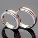 Парные свадебные кольца из серебра и золота