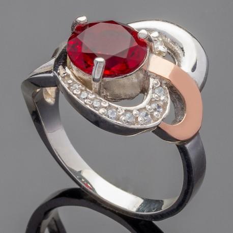 Серебряное кольцо Мрия (красный)