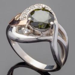 Серебряное кольцо Мрия (оливковый)