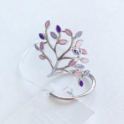 Женское серебряное кольцо Дерево (фиолет)