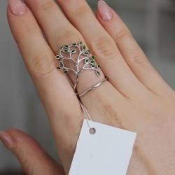 Женское серебряное кольцо Дерево (зеленый)