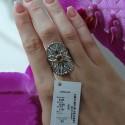 Массивное кольцо Зимнее солнце из родированного серебра