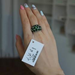 Серебряное кольцо Александра (зеленый)
