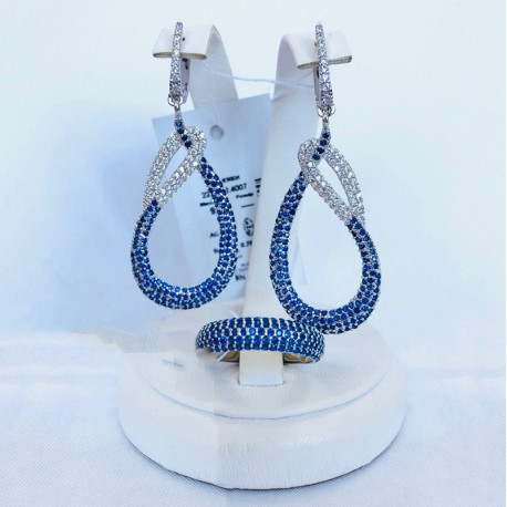 Серебряный гарнитур Мариэтта (синий)