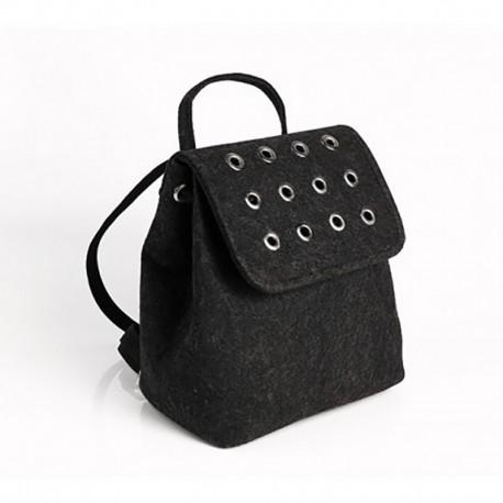 Войлочный рюкзак с заклепками (черный)