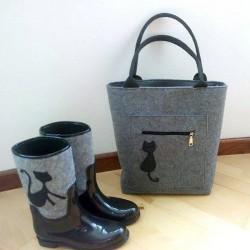 Комплект сумка и сапоги (серый)