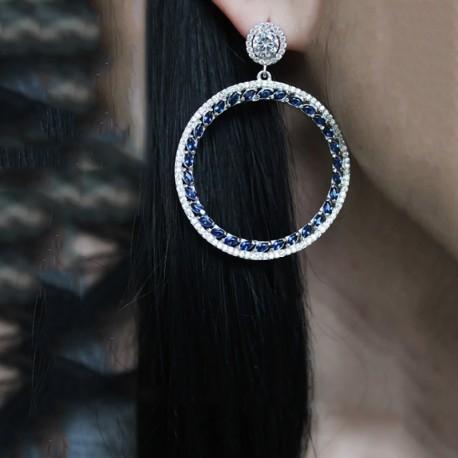 Серьги кольца Эшли (синий)