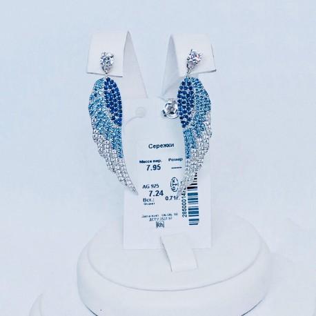 Серьги с камнями Крылья (синий)