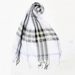 Белый шарф 200х70 см в модную клетку