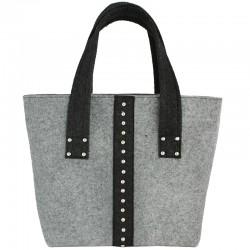 Женская сумка серого цвета из войлока с заклепками