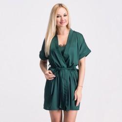 Шелковый халат на поясе, зеленого цвета