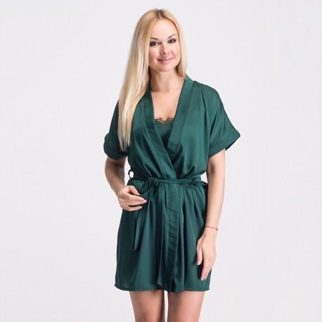 Шелковый халат зеленый