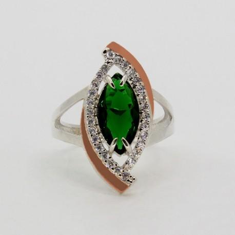 Маркиза-2 серебряное кольцо (зеленый)
