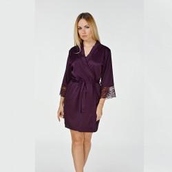 Женский халат с широкой вставкой кружева, сливовый