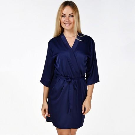 Женский халат с кружевом (синий)