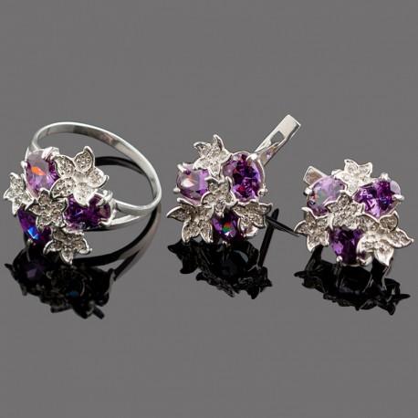 Набор украшений Букет из серебра (фиолетовый)