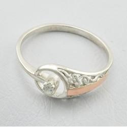 Серебряное кольцо Сюрприз со вставками из золота и циркония
