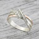 Серебряное кольцо София с золотом и цирконием