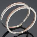 Серьги кольца Дюк с камнями и золотой напайкой