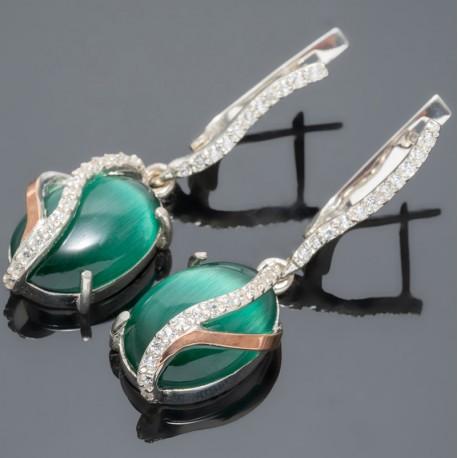 Серебряные серьги висюльки Адель (зеленый)