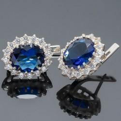 Серебряные серьги Каролина (синий)