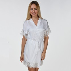 Белый шелковый халат с укороченным рукавом