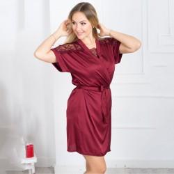 Бордовый шелковый халат с кружевным плечиком