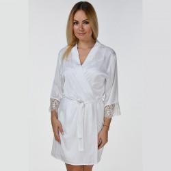 Белый шелковый халат с длинным кружевом