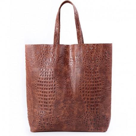 Кожаная сумка Poolparty City Croco (коричневый)