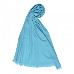 Женский однотонный палантин голубого цвета