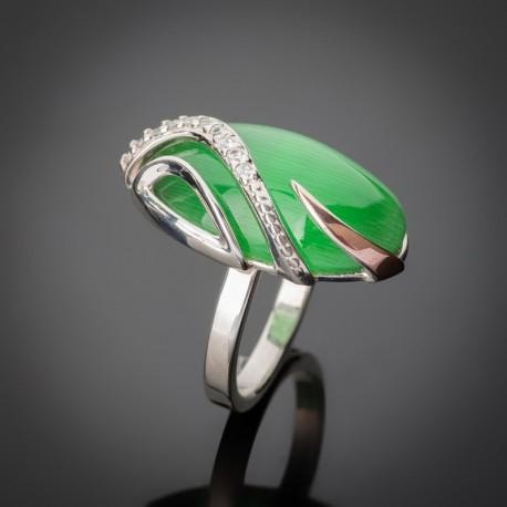 Серебряное кольцо Елена (зеленый)