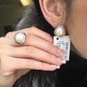 Серебряные изделия с золотыми напайками Эльза с жемчугом