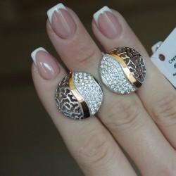 Ажурные серебряные серьги Хлоя, родий