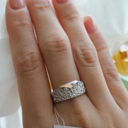 Серебряное кольцо ПТИЦА, родий