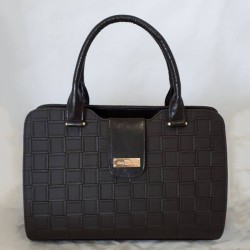 Женская сумка классика, шахматка (коричневый)