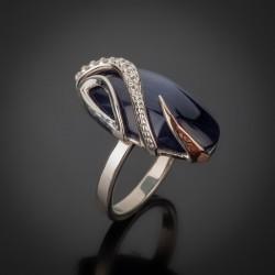 Серебряное кольцо Елена (черный)
