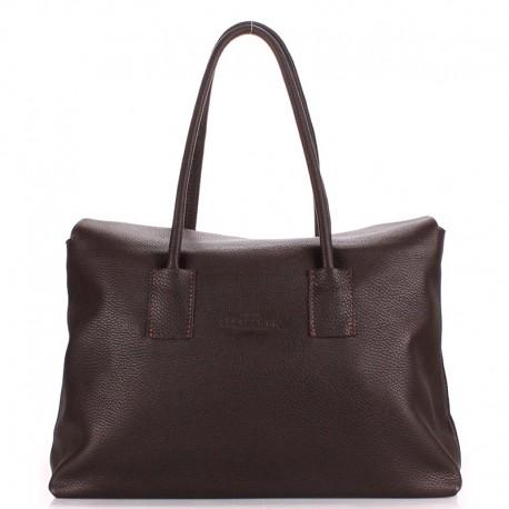 Кожаная сумка-тоут Poolparty SENSE, 36х26x14 см (коричневый)