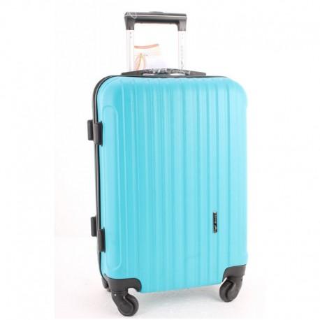 Пластиковый дорожный чемодан (голубой)