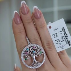 Кулон Дерево из серебра (розовый)