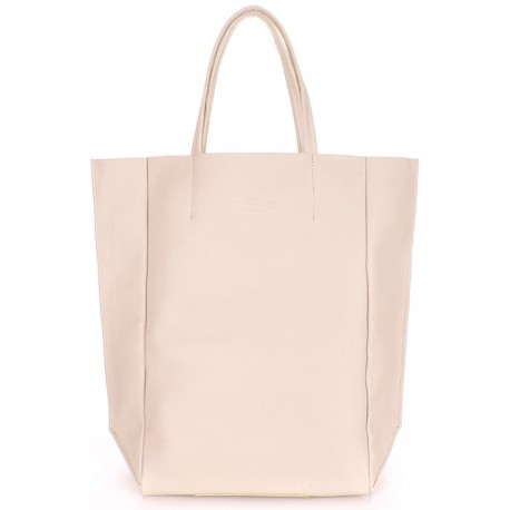Кожаная сумка Poolparty BIGSOHO, 43х43 см (бежевый)