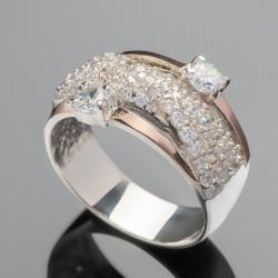 Серебряное кольцо Венера с золотом