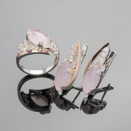 Набор серебряных украшений Манго (розовый)