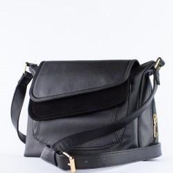 Женская сумка из экокожи и велюра (черный)
