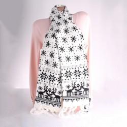 Теплый вязаный шарф СНЕЖИНКИ (белый)
