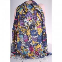 Женский шарф с принтом КОТЫ, 170х70 см