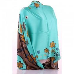 Шелковый шарф с цветами размер 175х67 см