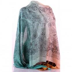 Двухцветный шелковый шарф 175х67 см