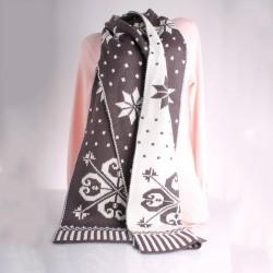 Теплый вязаный шарф двухцветный 200х35 см